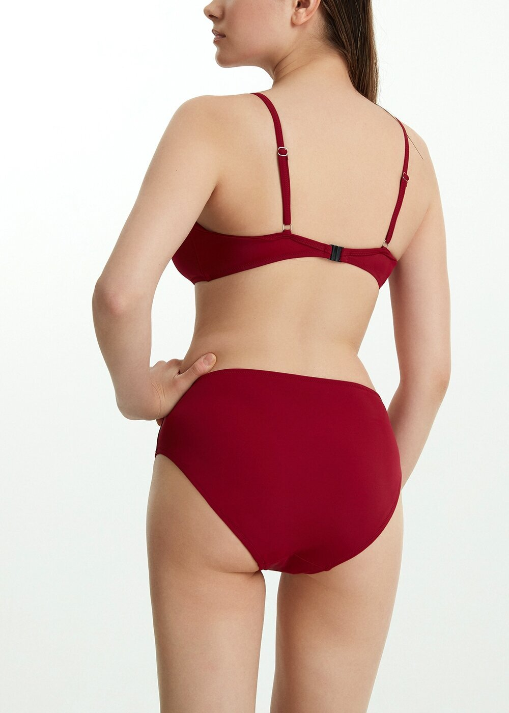 resm Midi Yüksek Bel Bikini Alt  - BORDO