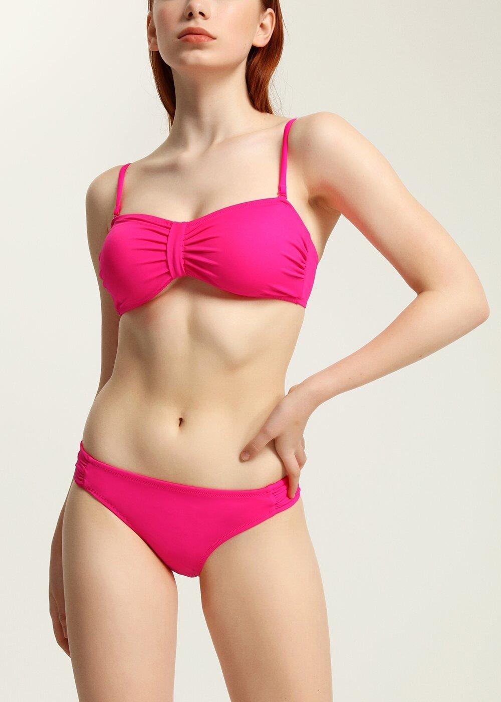 resm Luplu Straplez Bikini Üst - ŞEKER PEMBESİ