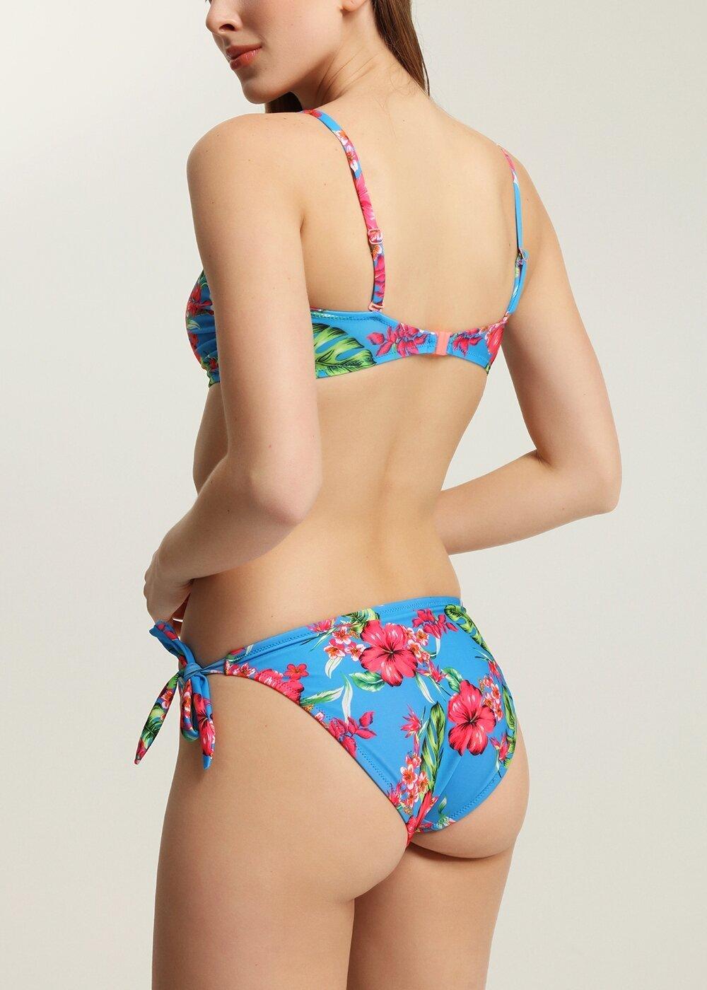 resm Luplu Straplez Bikini Üst - MAVİ BASKILI