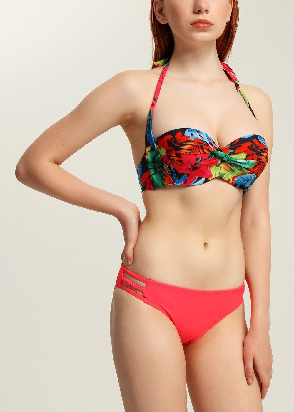 resm Kalın Bağcıklı Straplez Bikini Üst  - RENKLİ BASKILI