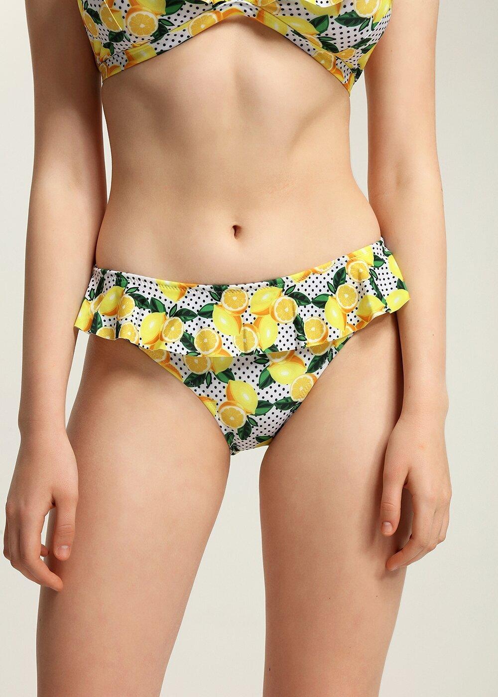 resm Fırfırlı Bikini Alt  - LİMON BASKILI