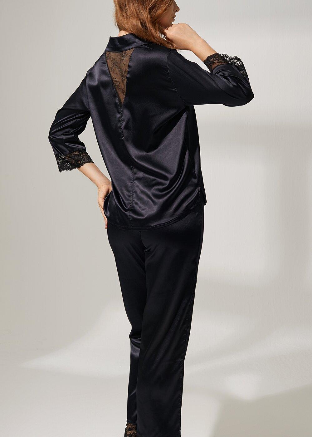 resm Latte Lace Saten Pijama Takımı - SİYAH