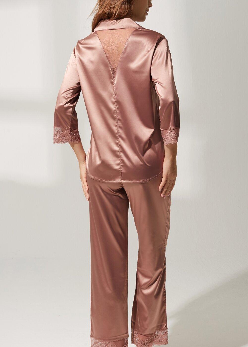 resm Latte Lace Saten Pijama Takımı - VİZON