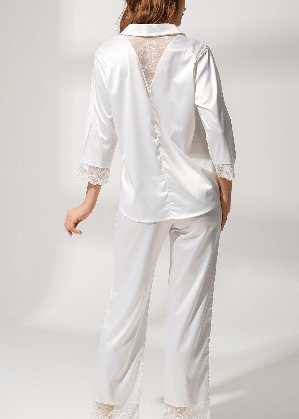 resm Latte Lace Saten Pijama Takımı - EKRU