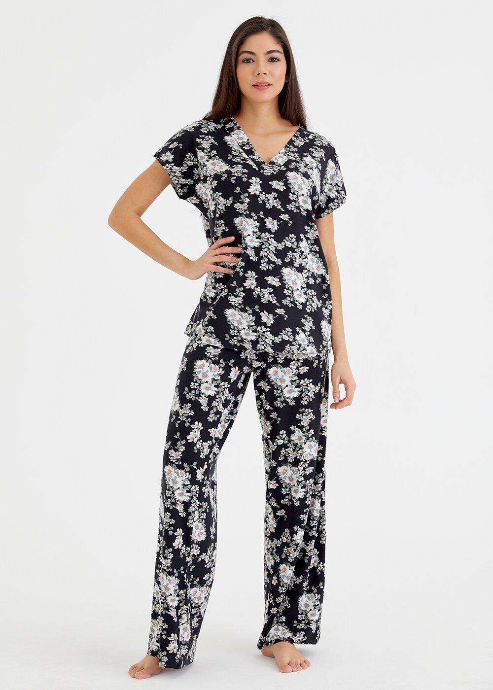 resm Black Rose Pijama Takımı - SİYAH BASKILI