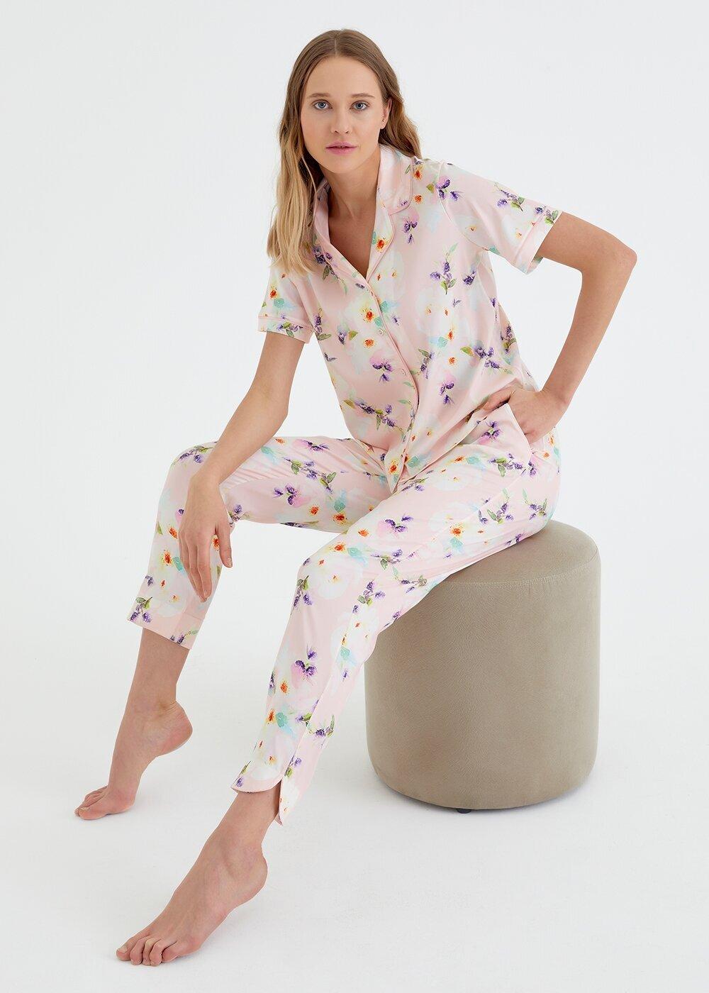 resm Summer Flower Maskulen Pijama Takımı - PEMBE BASKILI