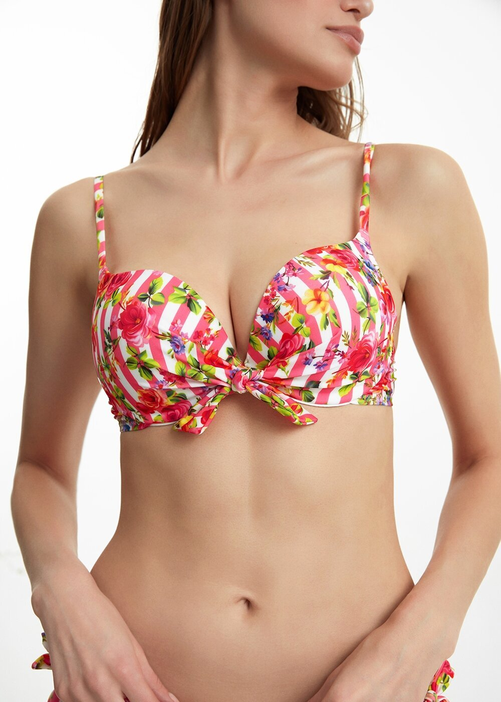 resm Önden Bağcıklı Full Dolgulu Bikini Üst - PEMBE ÇİZGİLİ