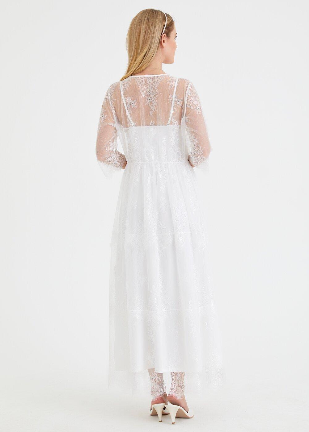 resm Elegance Bride Uzun Sabahlık - EKRU
