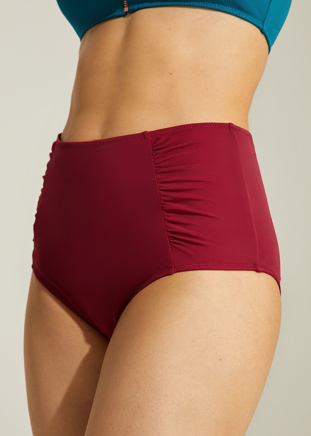 resm Yanı Pileli Yüksek Bel Bikini Alt - BORDO