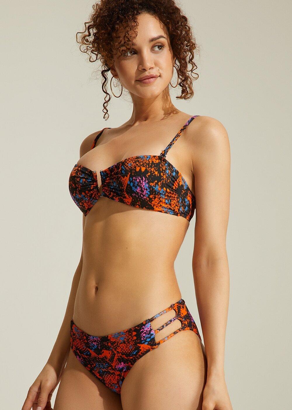resm Üç Şeritli Bikini Alt - TURUNCU YILAN DESENLİ