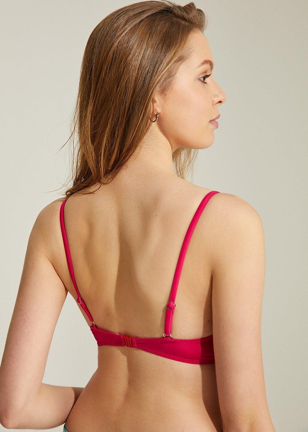 resm Önden Bağcıklı Full Dolgulu Bikini Üst - FUŞYA