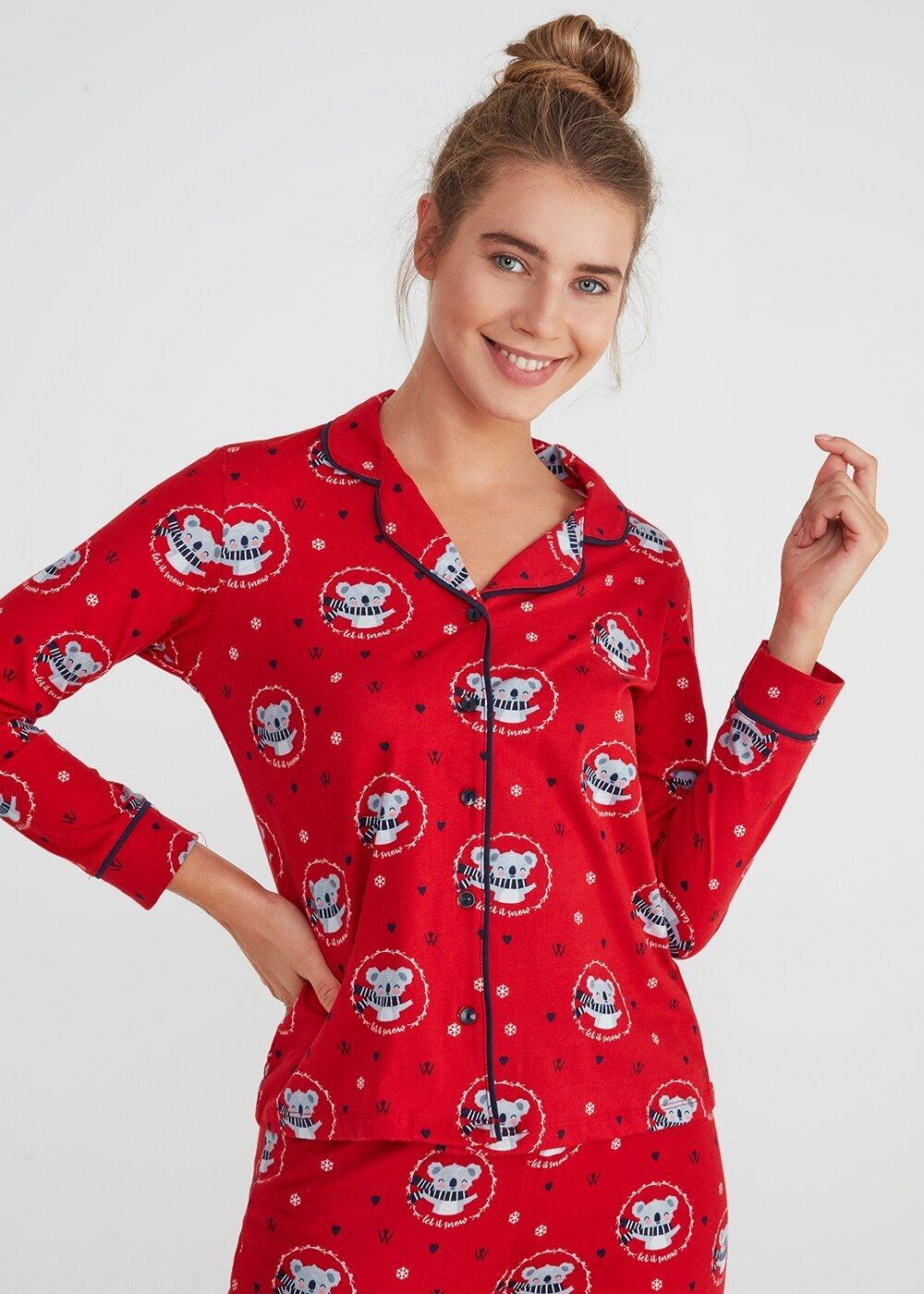 resm Koalina Maskulen Pijama Takımı - KIRMIZI BASKILI