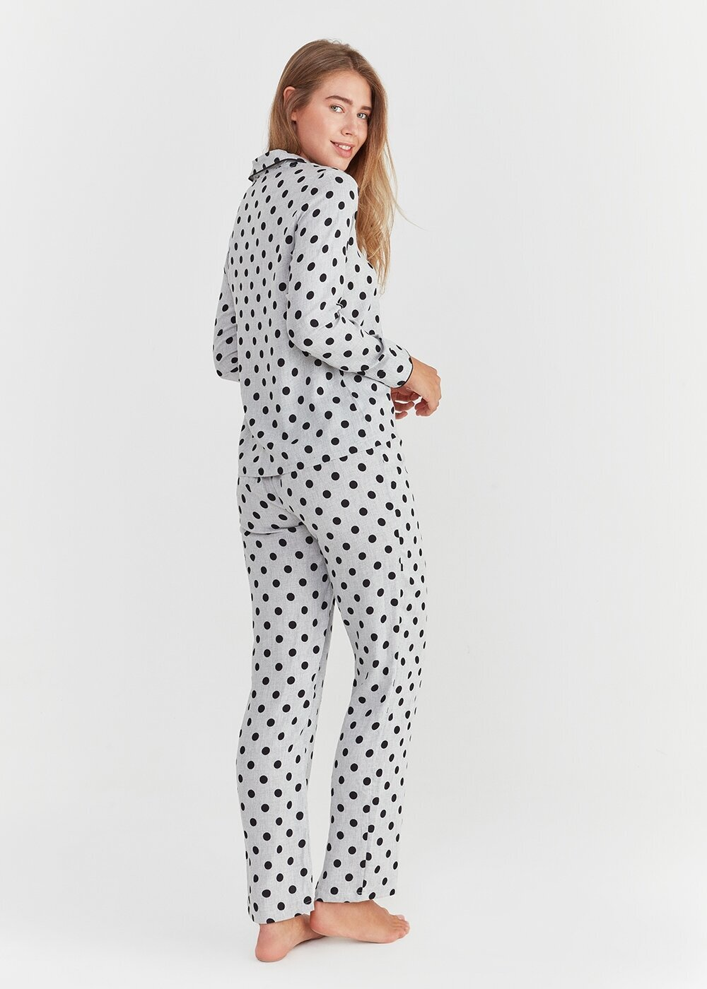 resm Pointy Maskulen Pijama Takımı - GRİ BASKILI