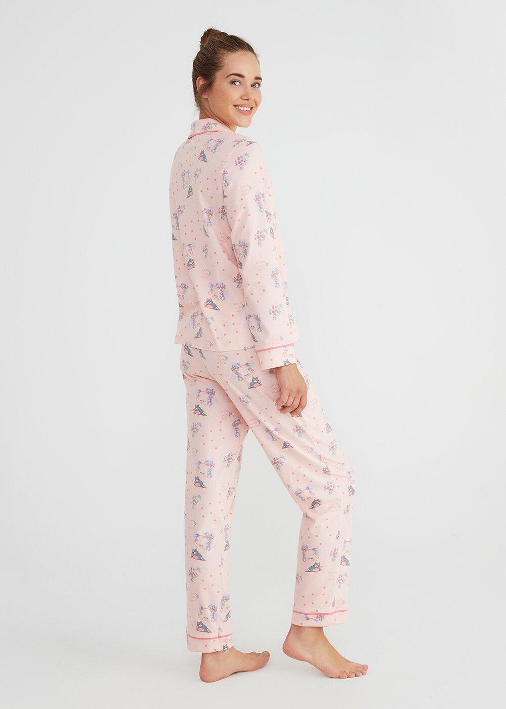 resm Hug Me Maskulen Pijama Takımı - PEMBE