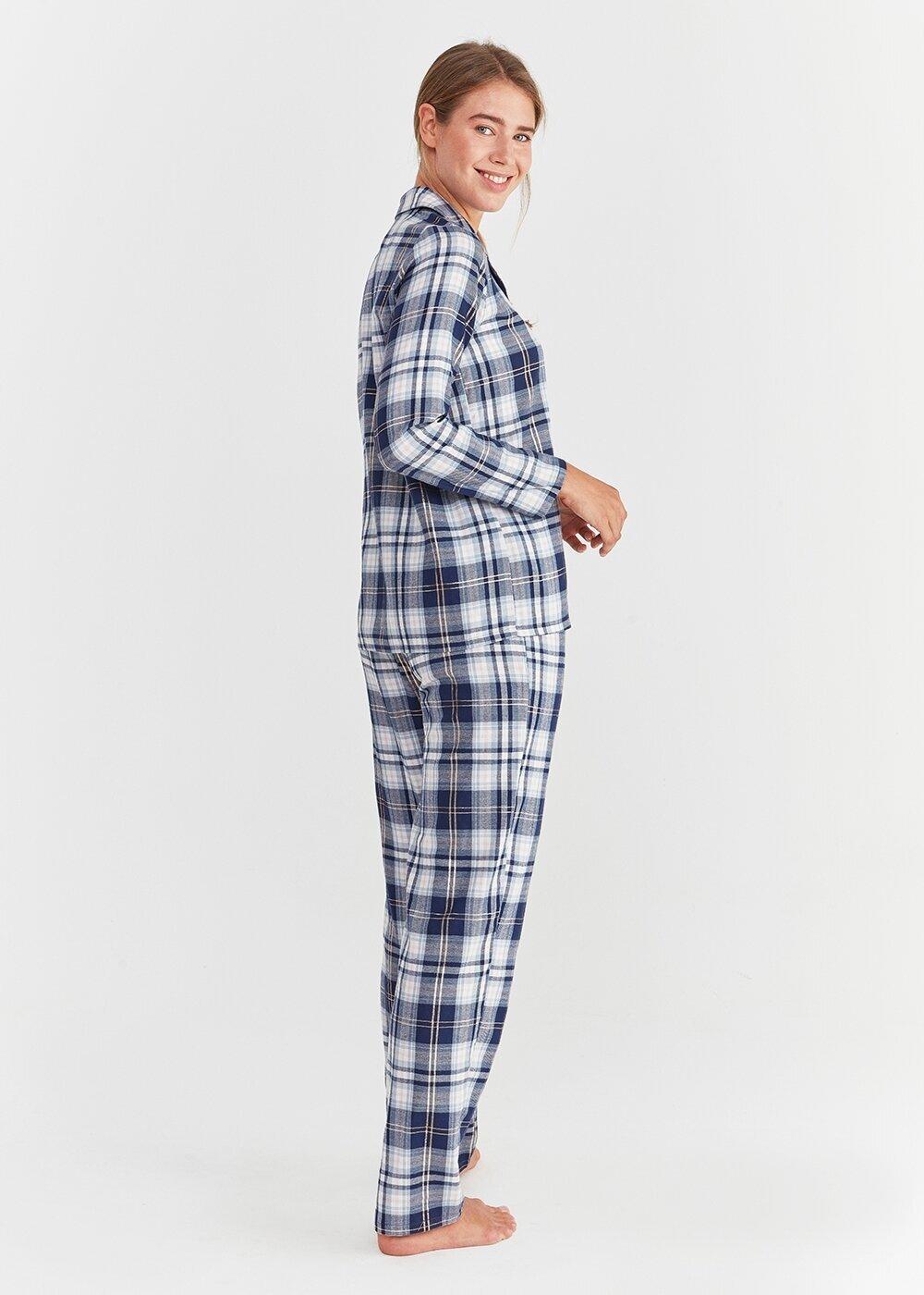 resm Adelina Maskulen Pijama Takımı - LACİVERT EKOSELİ