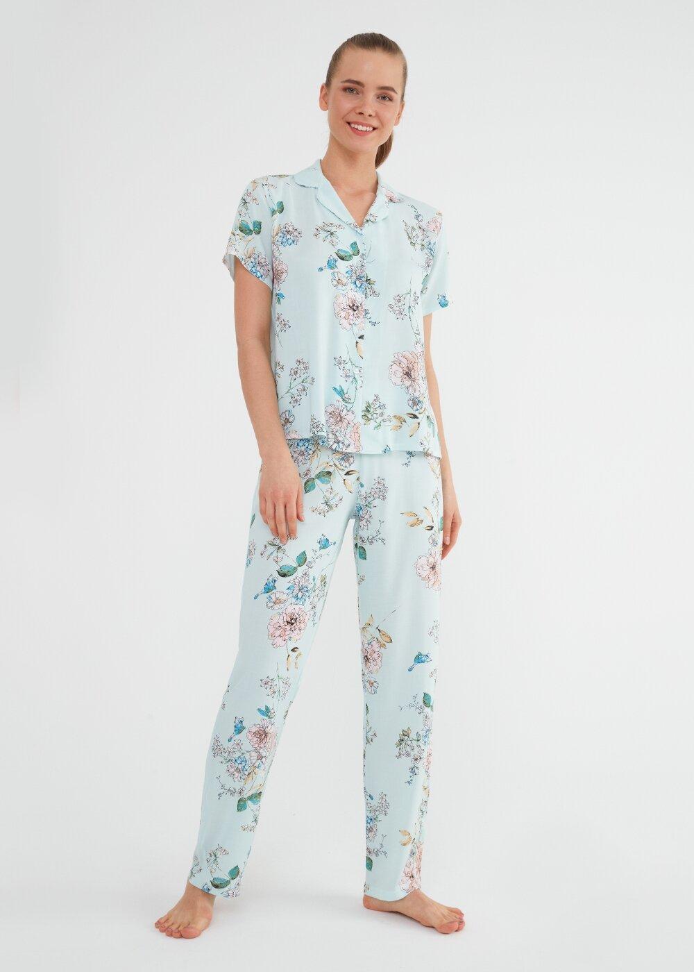 resm Linda Maskulen Pijama Takımı - DENİZ MAVİSİ BASKILI