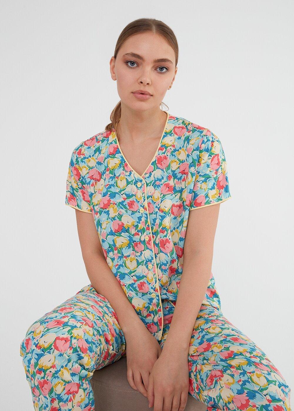 resm Jolly Maskulen Pijama Takımı - ÇİÇEK BASKILI