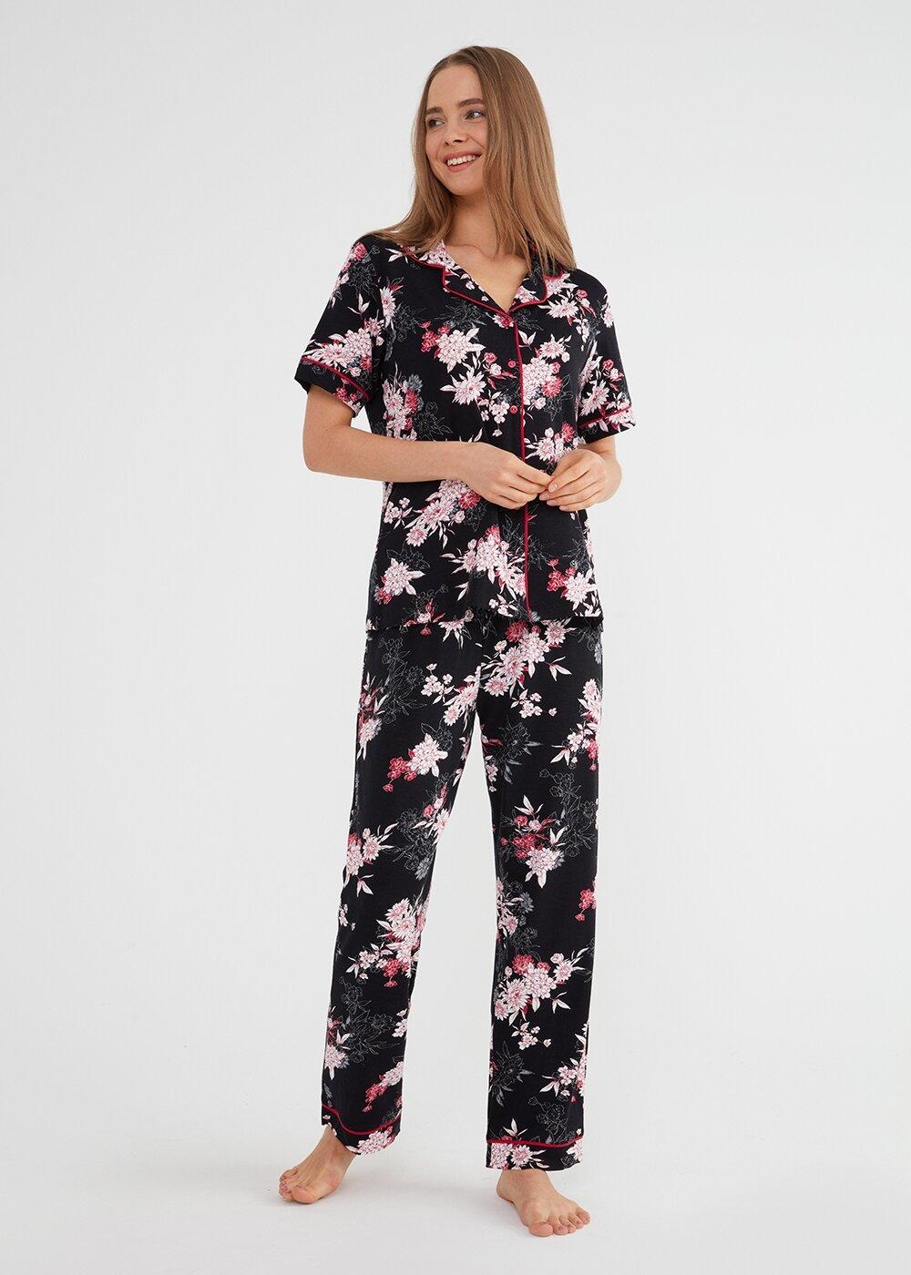 resm Felicity Maskulen Pijama Takımı - SİYAH BASKILI