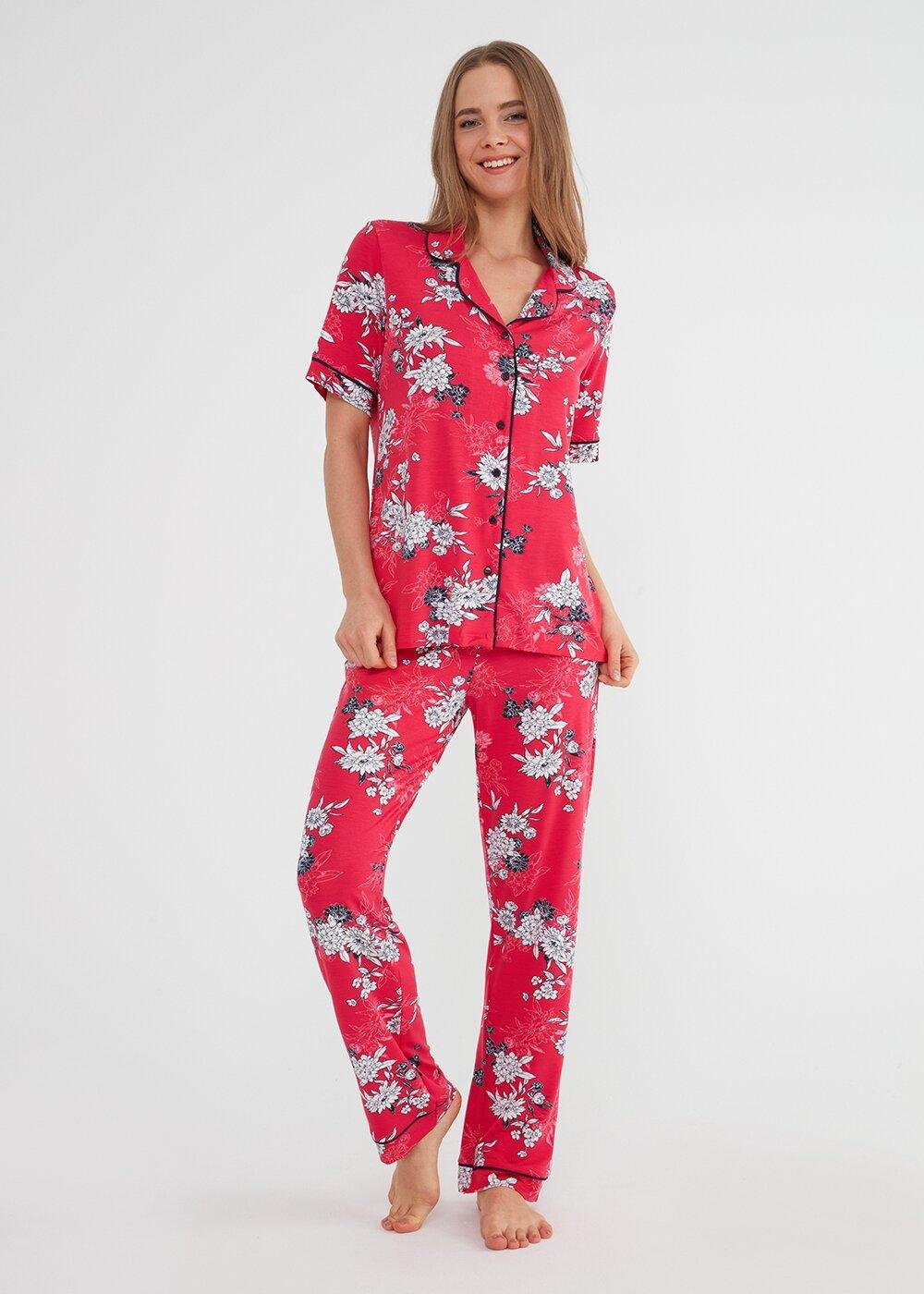 resm Felicity Maskulen Pijama Takımı - KIRMIZI BASKILI
