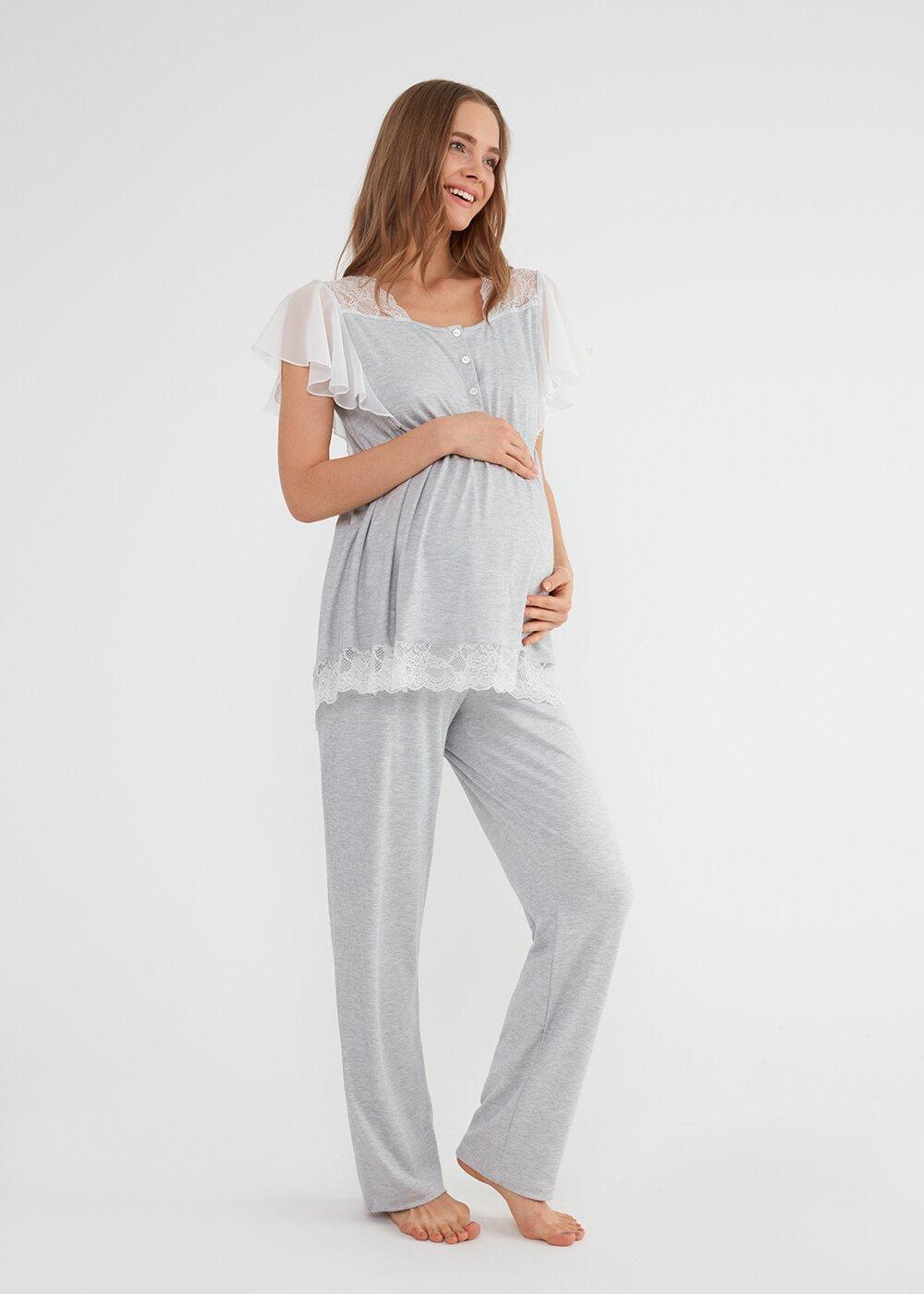 resm Mia Hamile Lohusa Pijama Takımı - GRİLİ