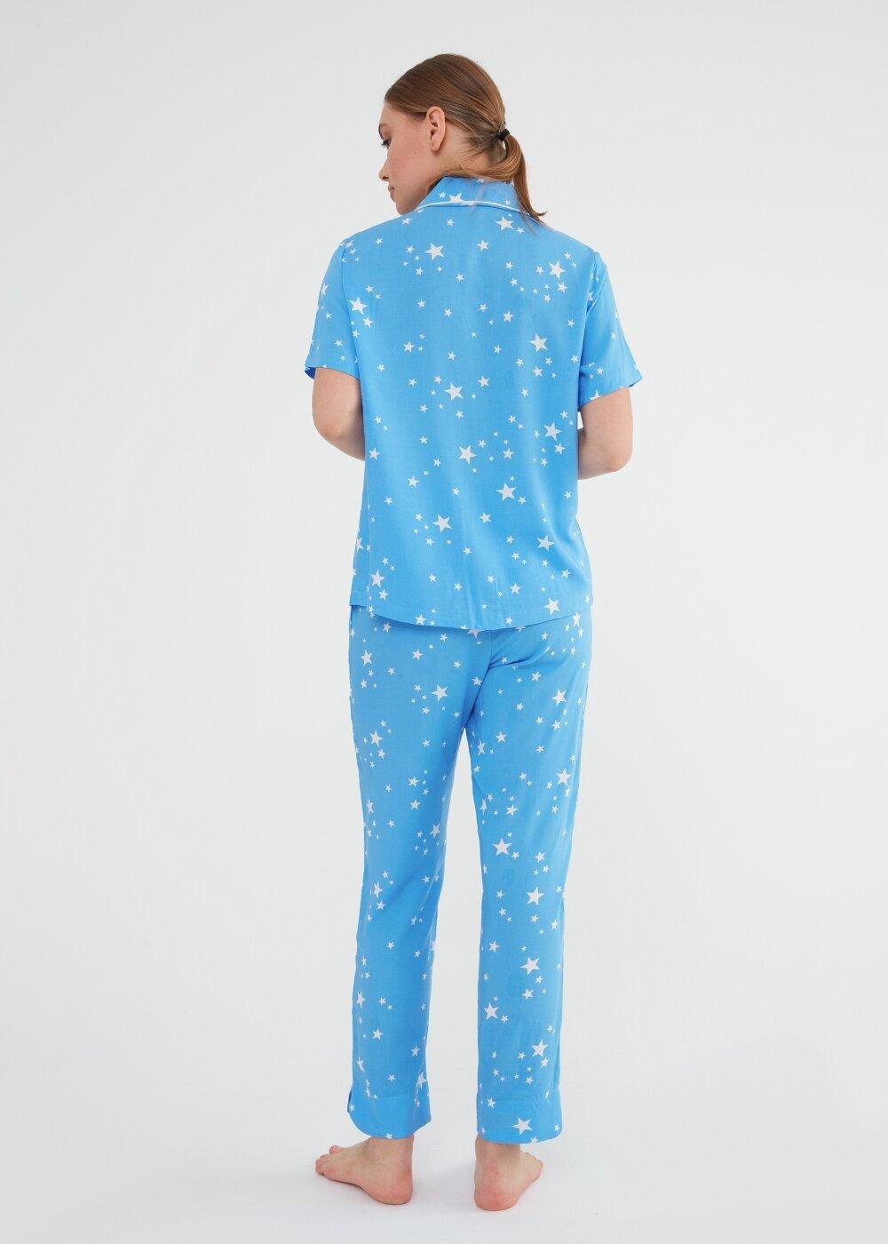 resm Fiona Maskulen Pijama Takımı - MAVİ