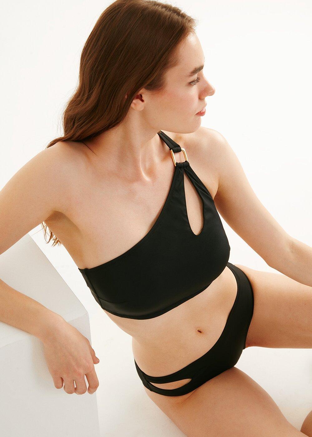 resm Yanı Detaylı Bikini Alt - SİYAH