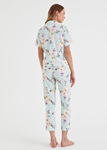 resm Summer Flower Maskulen Pijama Takımı - DENİZ MAVİSİ BASKILI