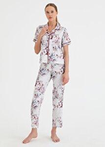 resm Summer Night Maskulen Pijama Takımı - ÇİÇEK BASKILI