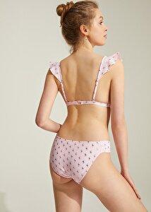 resm Yanı Pileli Bikini Alt - FLAMİNGO DESENLİ