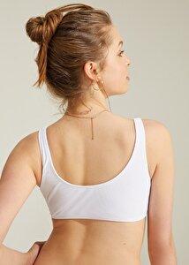 resm Çıtçıtlı Bralette Bikini Üst - BEYAZ