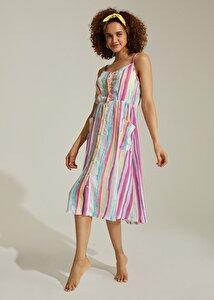 resm Rainbow Desenli Plaj Elbisesi - RENKLİ BASKILI