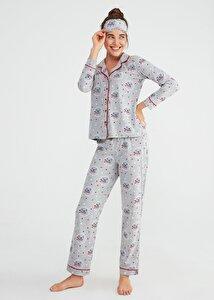 resm Koalina Maskulen Pijama Takımı - GRİ BASKILI