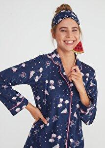 resm Hug Me Maskulen Pijama Takımı - LACİVERT BASKILI