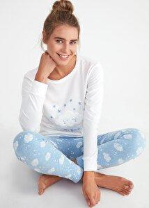 resm Bella Spor Pijama Takımı - BULUT DESENLİ