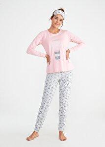 resm Bella Spor Pijama Takımı - KAHVE DESENLİ
