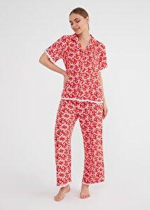 resm Camellia Maskulen Pijama Takımı - KIRMIZI BASKILI