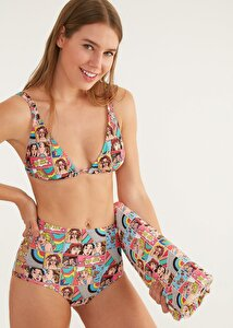 resm Yüksek Bel Yanı Biyeli Desenli Bikini Alt - POP ART