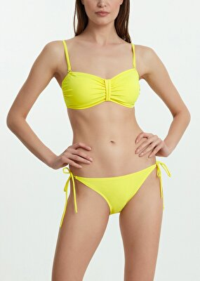 Resim Luplu Straplez Bikini Üst  - SARI