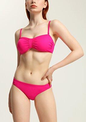 Resim Luplu Straplez Bikini Üst  - ŞEKER PEMBESİ