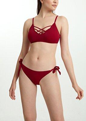 Resim Kalın Bağcıklı Bikini Alt - BORDO
