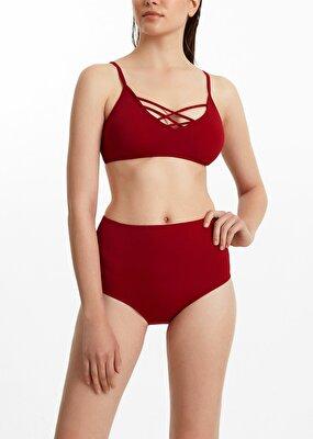 Resim Yüksek Bel Bikini Alt  - BORDO