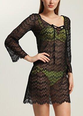 Resim Lacy Elbise - SİYAH