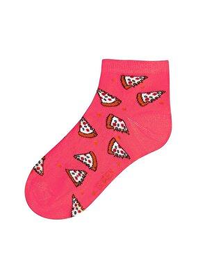 Resim Pizza Soket Çorap - FUŞYA