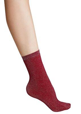 Resim Shinny Soket Çorap - BORDO