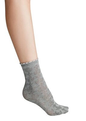 Resim Ajur Soket Çorap - GRİ