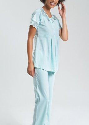 Resim Elegance Mother Lohusa Pijama Takımı - SU YEŞİLİ
