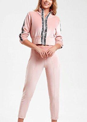 Resim Leovelvet Kadife Pijama Takımı - PEMBE