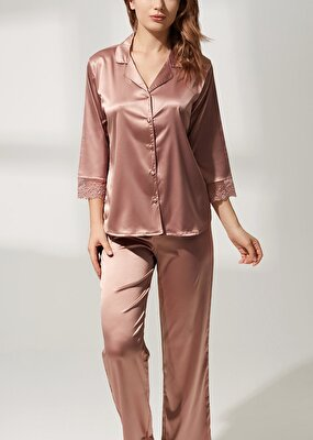 Resim Latte Lace Saten Pijama Takımı - VİZON
