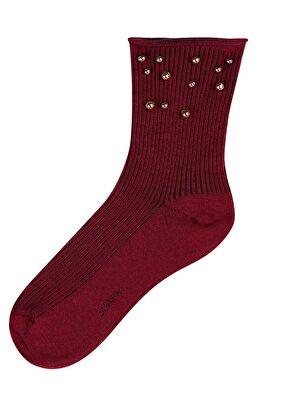 Resim Pearl Soket Çorap - BORDO