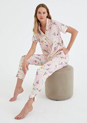 Resim Summer Flower Maskulen Pijama Takımı - PEMBE BASKILI